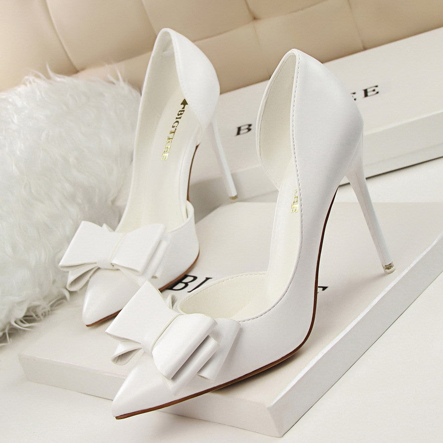 Women's Sweet Bow-Knot High-Heeled Thin Pink Hollow Pointed Toe Elegant Shoes - Bestshopup
