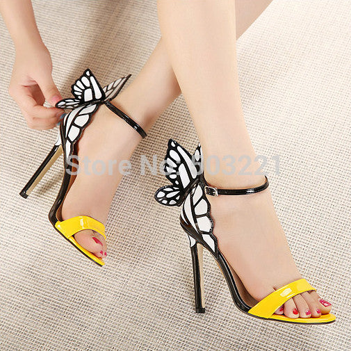 Women's Colorful Butterfly High Heeled Sandals - Bestshopup