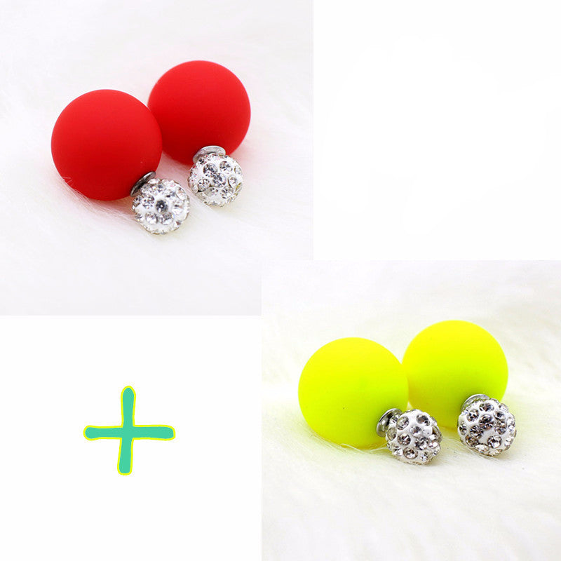 Women's 2 Pairs Two Ball Double side Stud Earrings - Bestshopup