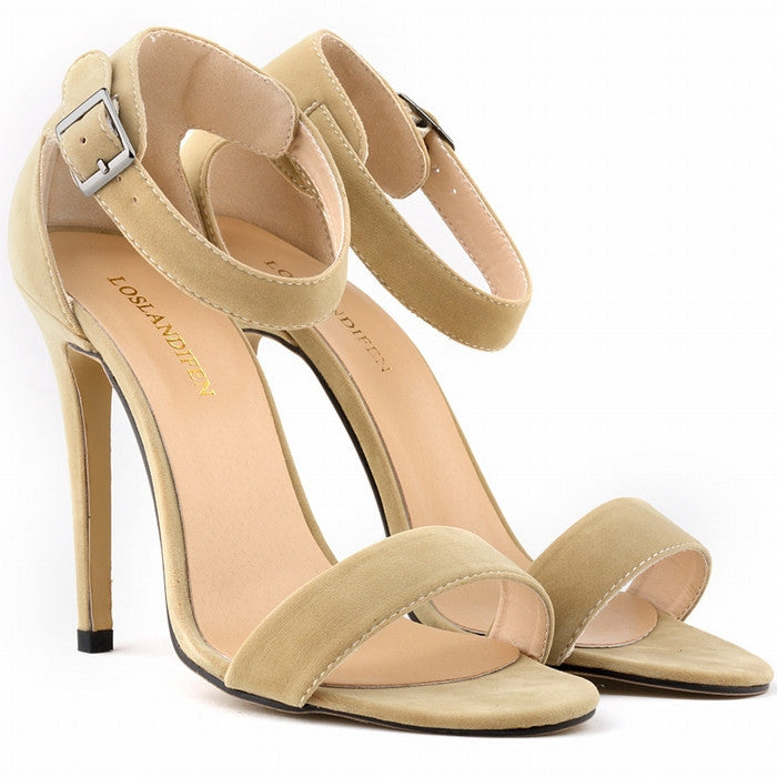 Women's Open Toe Thin Flock High Heels - Bestshopup