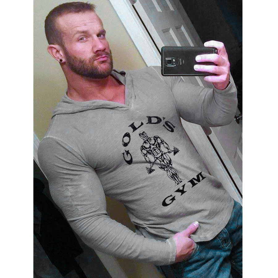 Mens Bodybuilding Hoodies Golds Gym Clothing Workout Slim Fit Fitness - Bestshopup