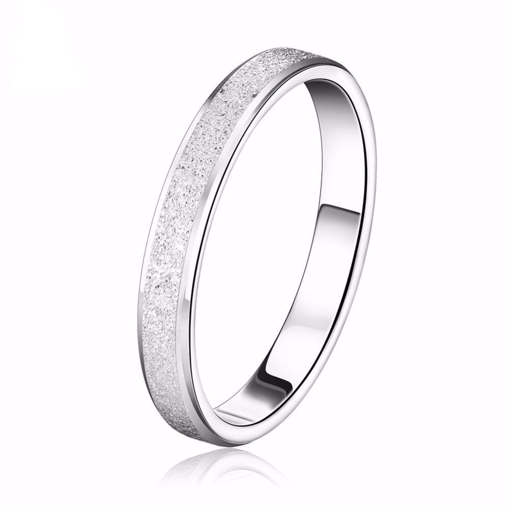 Men's & Women's White Gold Plated Frosting Surface Elegant Silver Couple Ring - Bestshopup
