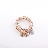 Women's Gold Plated Stretchy Snake Chain Rhinestone Charms Elephant Bracelet - Bestshopup
