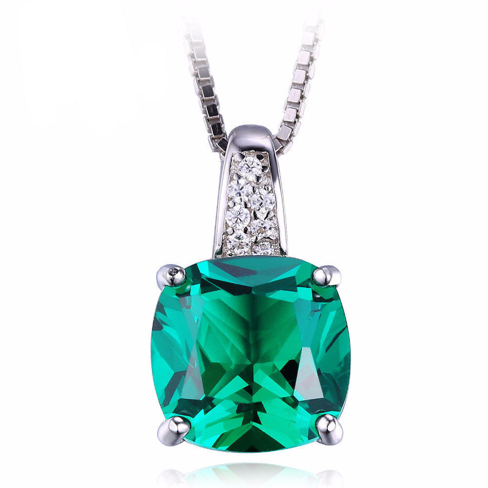 Women's Emerald Sterling Solid Silver Stunning Square Unique Necklace - Bestshopup