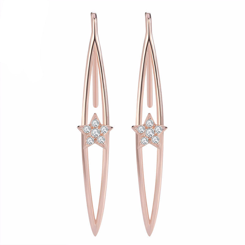 Rose Gold Earring Micro Paved Earrings - Bestshopup