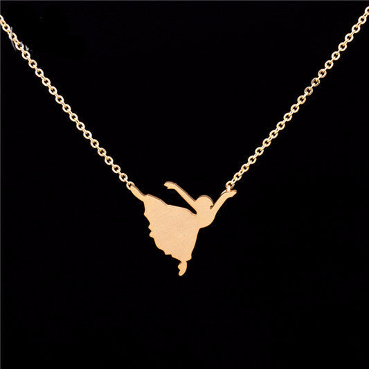 women's stainless Steel Ballet Plated Necklace - Bestshopup