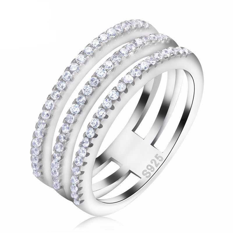Women's 3 Rows Platinum Plated Cubic Zircon Ring - Bestshopup