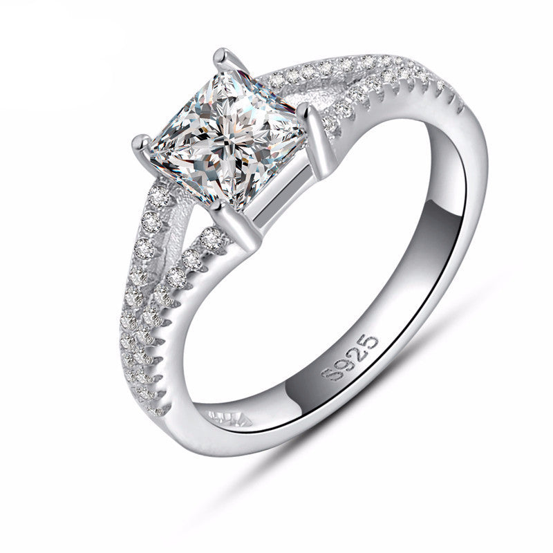 Women's Engagement & Wedding Ring with AAA Austrian Princess Cut Cubic Zirconia Platinum Plated - Bestshopup
