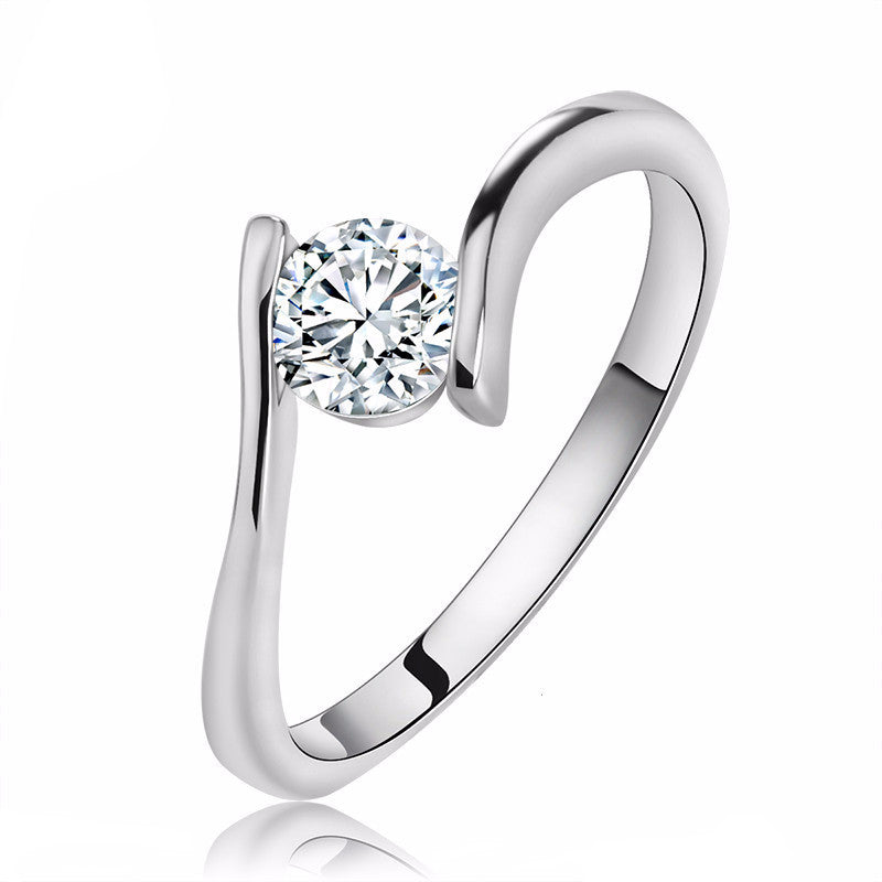 Women's Luxury Austrian Crystal Solitaire Ring On 3 Layer Platinum Plated - Bestshopup