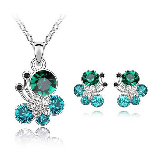 Women's Butterfly Austrian Crystal Necklace & Earrings Set - Bestshopup