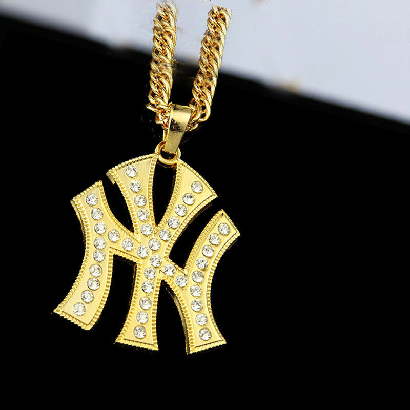 Hip Hop Vintage 18K Gold NY Yankees Long Necklace - Bestshopup