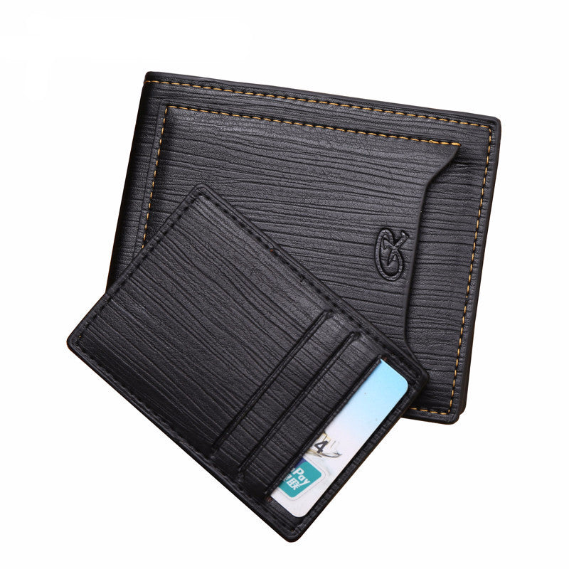 Men's Leather Bifold Short Black Credit Card Holder Slim Wallet - Bestshopup