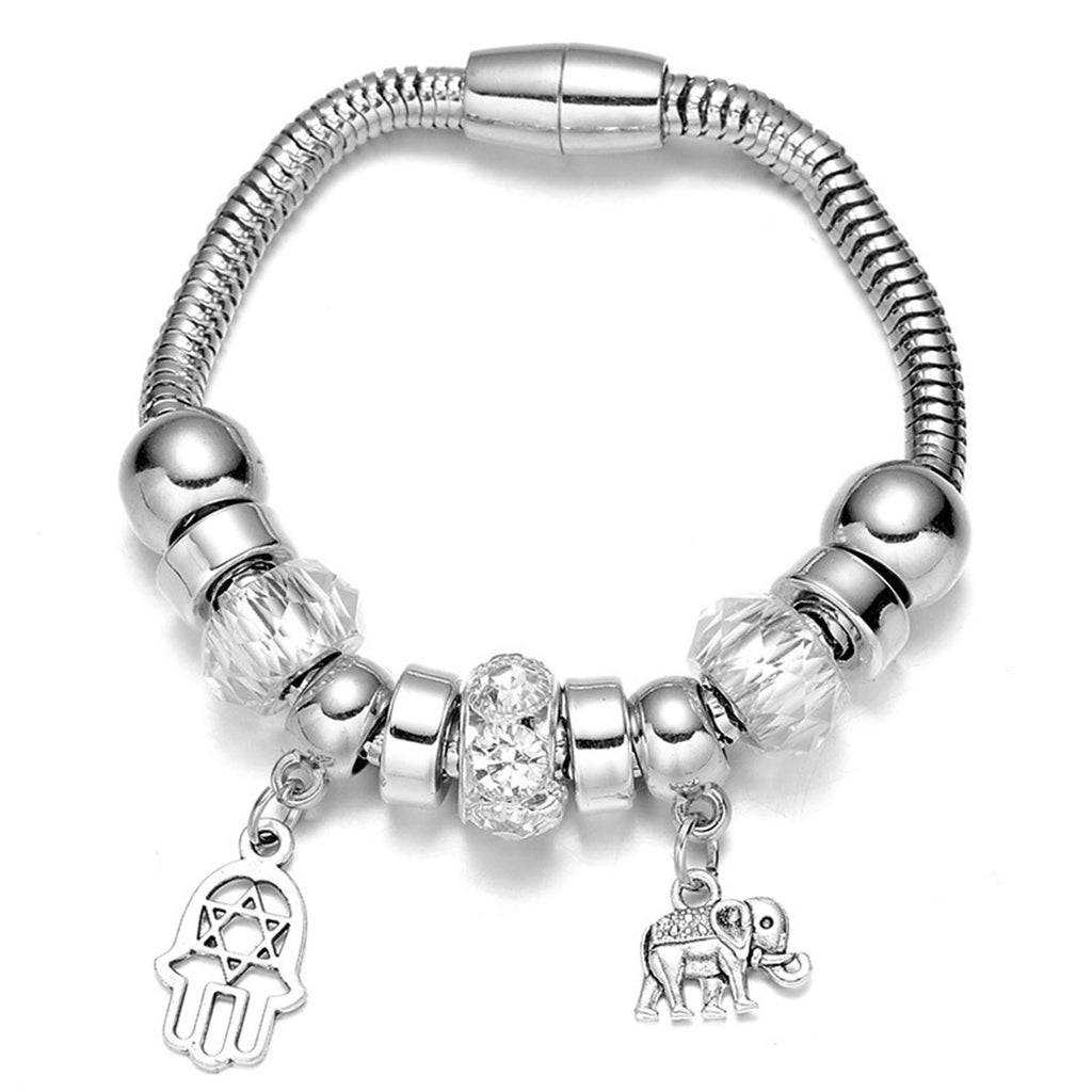 Women's Silver Plated Native American Beaded with Plam and Elephant Shaped Danlge Bracelet - Bestshopup
