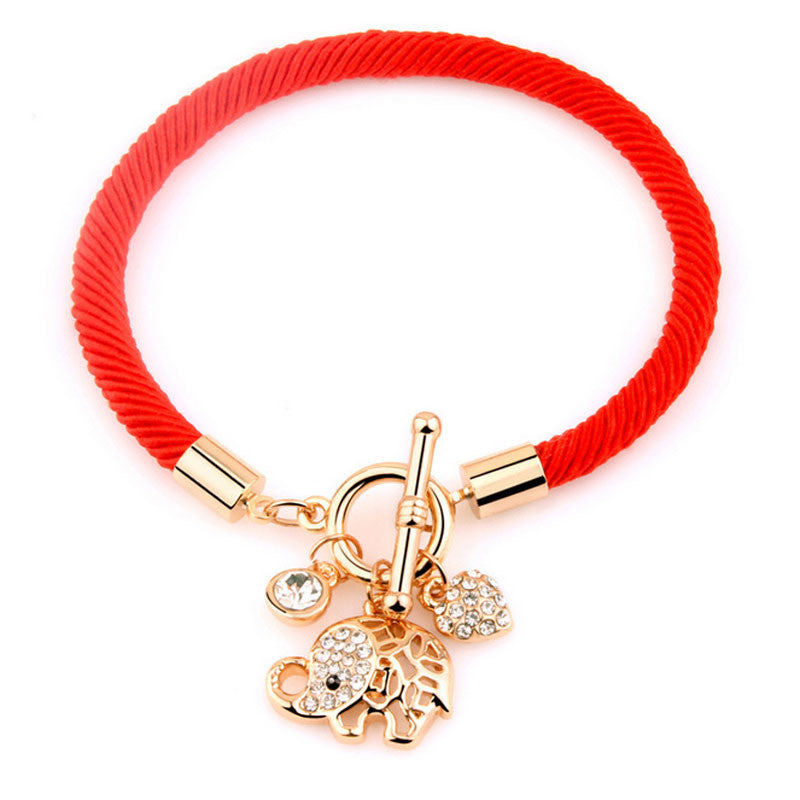 Women's Lucky Red String Rope Plated Chain and Crystal Charm Elephant Bracelet - Bestshopup