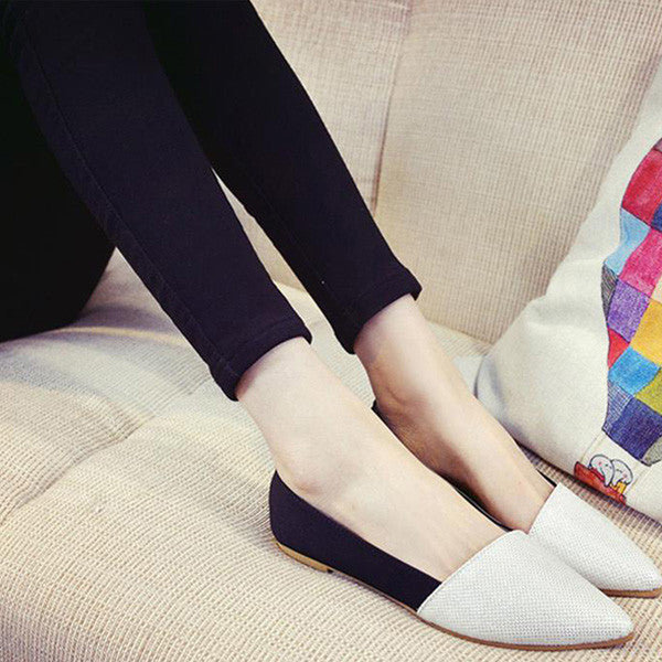 Women's Casual Comfortable Pointed Toe Rubber Silver/Golden Flats - Bestshopup