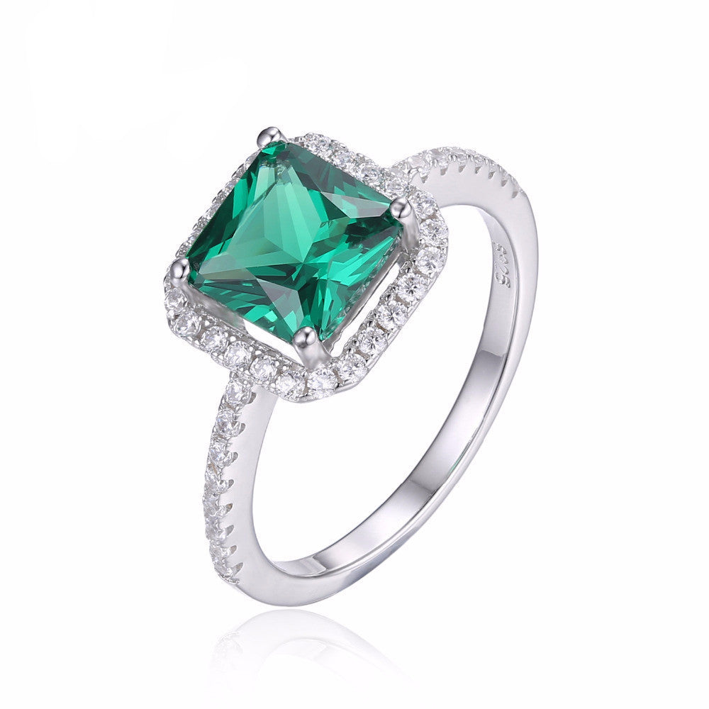 Women's Unique Emerald Sterling Solid Silver Stunning Square Ring - Bestshopup