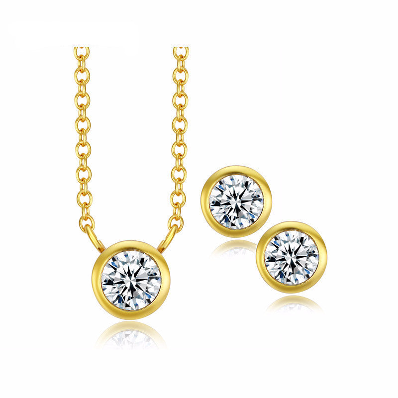 Women's Simple Romantic 18K Gold Plated Necklace & Earrings Set - Bestshopup