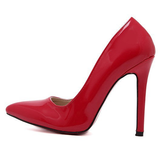 Women's Pu Leather Red Bottom Pointed Toe 12cm High Heels - Bestshopup
