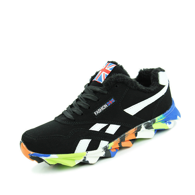 Men's Lace-Up Flat Black Mixed Color Running Trainer Shoes - Bestshopup