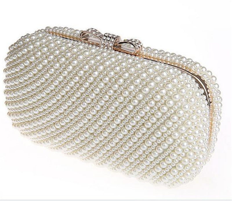 Women's Two Sided Beaded Pearl Bowknot Evening Clutch - Bestshopup