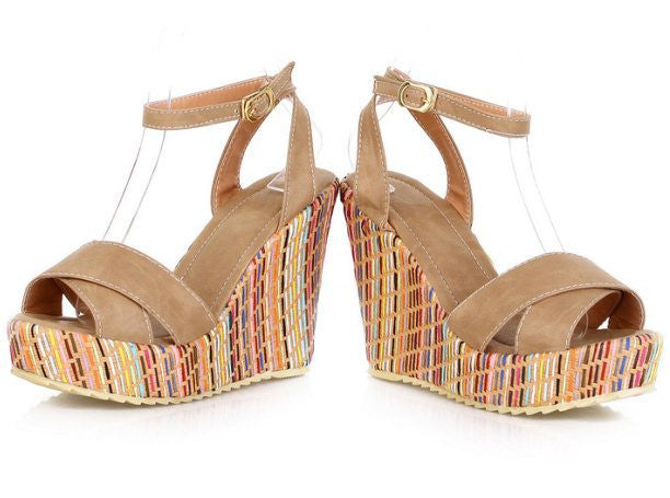 Women's Ankle Straps Bohemia Colorful Open Toe Wedges - Bestshopup