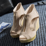 Women Shoes Woman Summer Platform Wedges Vintage High Heels Open Toe With Zipper Sandalias - Bestshopup
