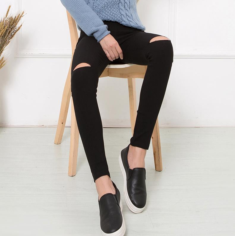 Women's Cotton High Elastic Imitate Skinny Ripped Jeans - Bestshopup