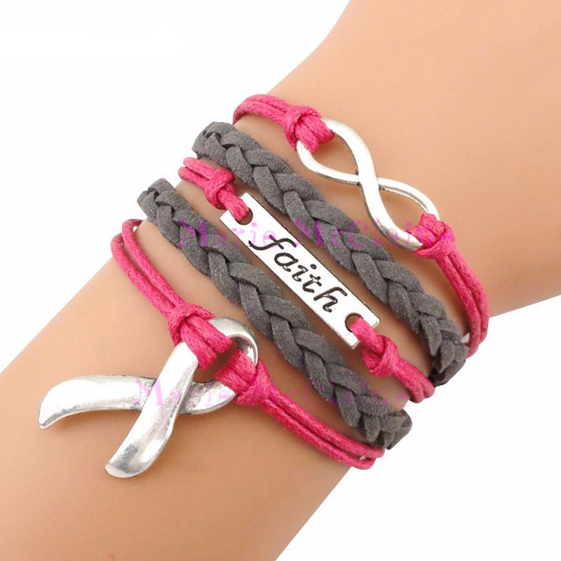 (10 Pieces/Lot)Infinity Love Faith Cancer Awareness Ribbon Wrap Bracelet - Bestshopup