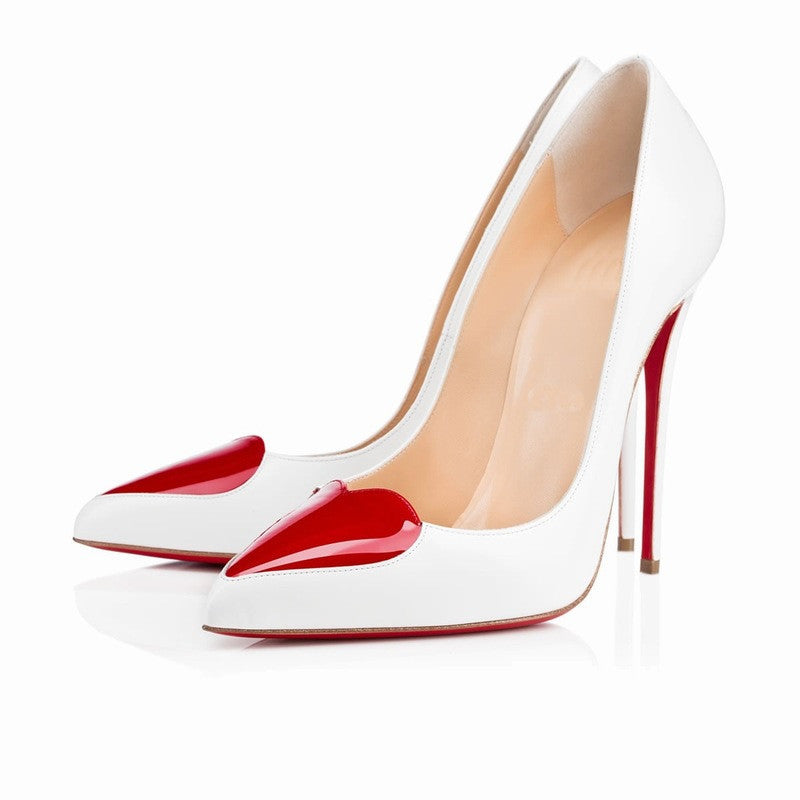 Women's Red Bottom Sweet Heart Thin High Heels - Bestshopup