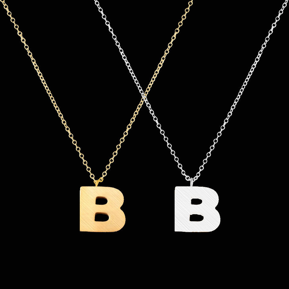 Women's Stainless Steel Initial Letter B Alphabet Necklace - Bestshopup