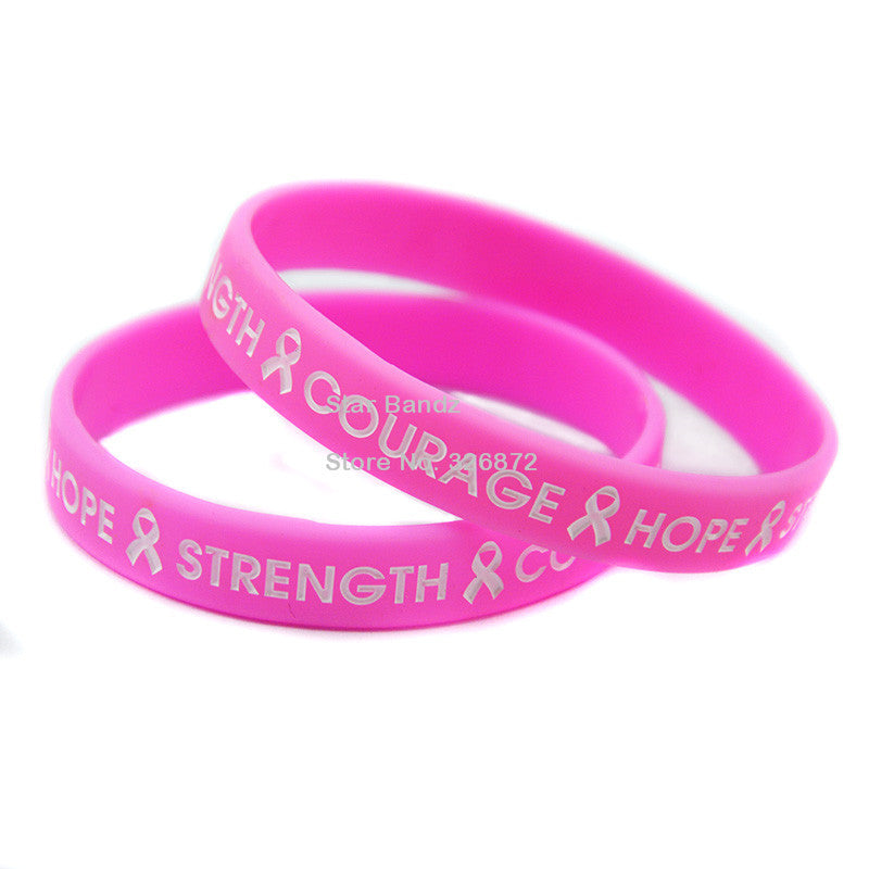 50PCS/Lot HOPE STRENGTH COURAGE Silicon Wristband With Ribbon for Cancer - Bestshopup