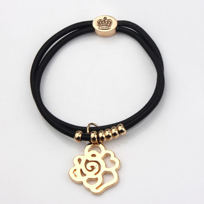 Women's Bear Strong Elastic Black Rope Heart, Elephant, Rose, Key 18K Gold Plated Charms - Bestshopup