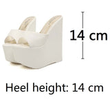 Women Wedges Sandals 14.5 cm High Heels Ladies Pumps Platform Shoes - Bestshopup