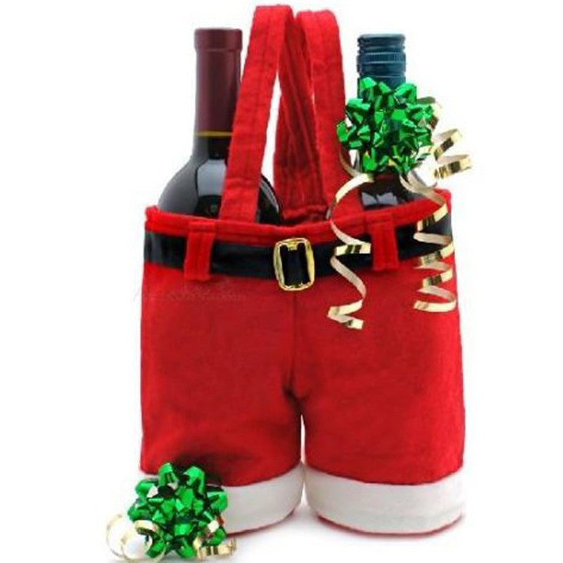 1 Pcs Merry Christmas Gift Treat Candy Wine Bottle Bag Santa Claus Suspender Pants Trousers Decor Christmas Gift Bags - Bestshopup