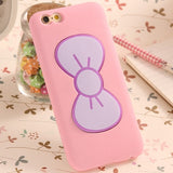 Cartoon Bow Stand Holder Rubber Cover For iPhone - Bestshopup