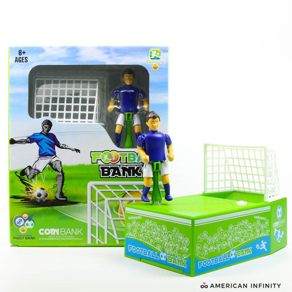 AmericanInfinity Soccer Player Goal Kicking Coin Bank