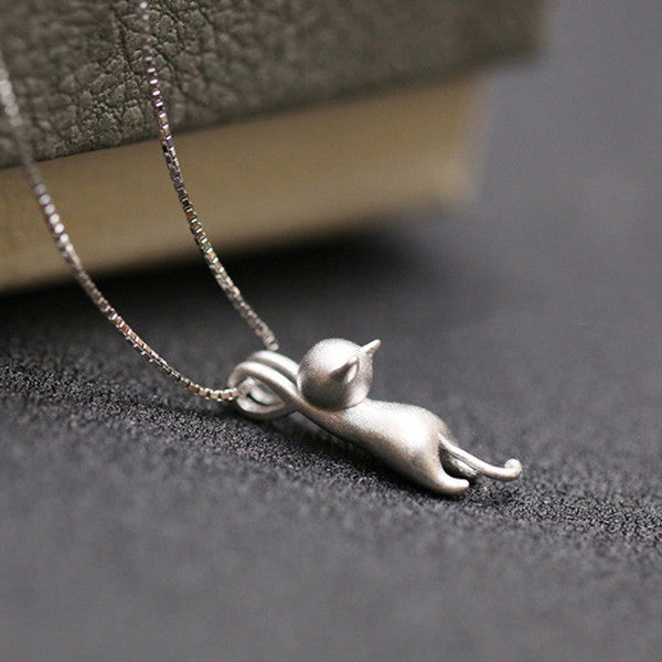 AmericanInfinity Sterling Silver Cat Pendant Necklace(Just Pay Shipping)