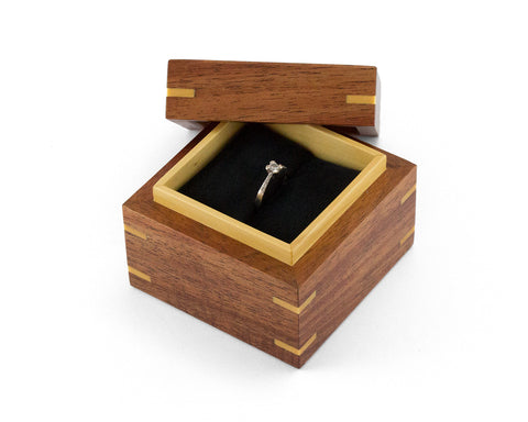 Wooden Proposal Ring Box handcrafted from Tasmanian Blackwood and Huon Pine