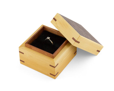 Wooden Proposal Ring Box handcrafted from Huon Pine, Jarrah and Myrtle