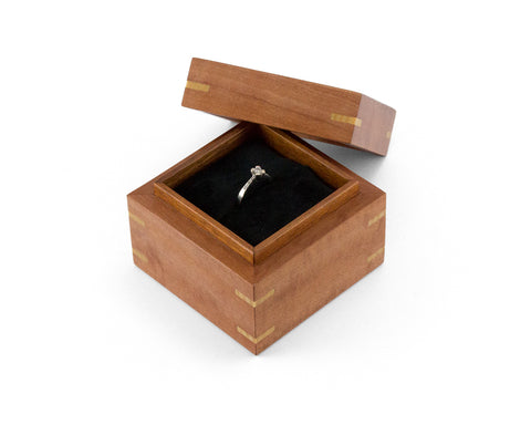 Wooden Proposal Ring Box handcrafted from Myrtle and Blackwood