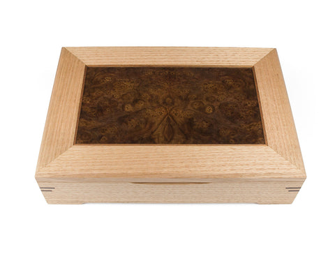 Wooden Document Box handcrafted from Tasmanian Oak & Walnut Burl veneer