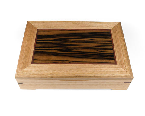 Wooden Document Box handcrafted from Tasmanian Oak & Macassar Ebony veneer