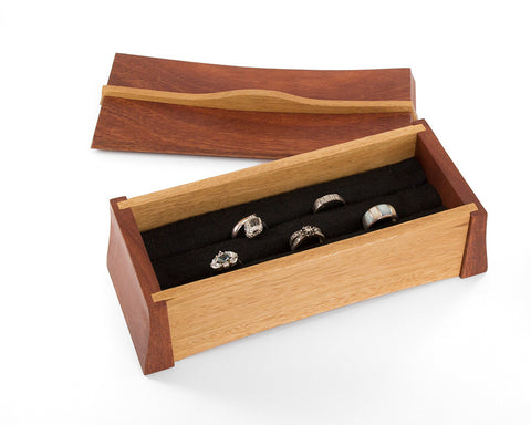 Asian inspired wooden multi-ring box handcrafted from Australian Jarrah and Blackbutt