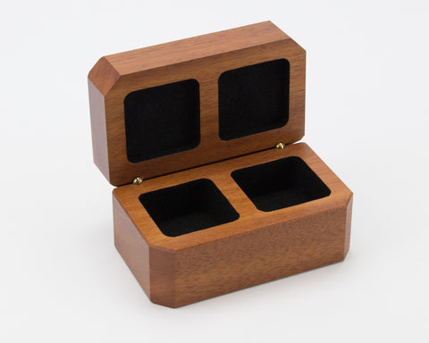 Wooden Double Ring Box handcrafted from NSW Rosewood