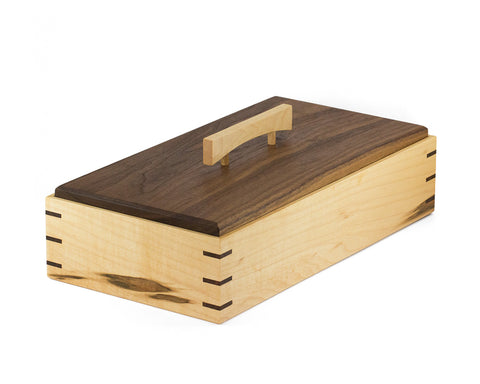 Elegant Wooden Keepsake Box handcrafted from Rock Maple & Black Walnut