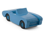 Handcrafted wooden toy car in blue