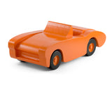 Handcrafted wooden toy car in orange