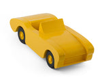 Handcrafted wooden toy car in yellow