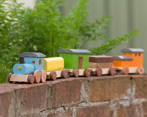 Handcrafted Wooden Toy Freight Train