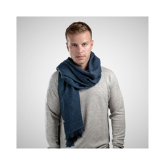 Ethical blue wool scarf by Dinadi, available from For Dignity | Australia